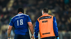 Leinster prop Mike Ross leaves the pitch with a hamstring injury against Zebre Picture: Sportsfile