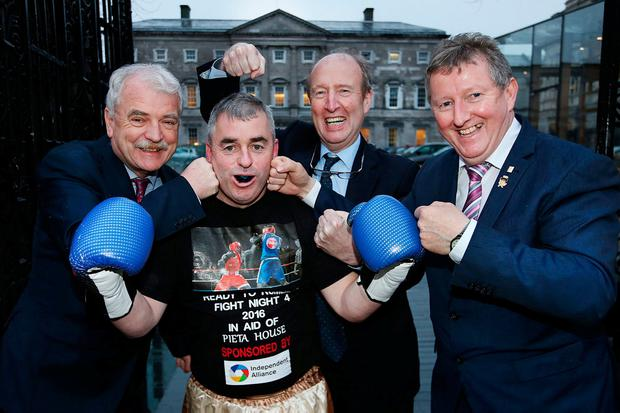 From left: Disability Issues Minister Finian McGrath, Kevin 'Boxer' Moran TD, Transport, Tourism and Sport Minister Shane Ross, and OPW and Flood Relief Minister Sean Canney. Photo: Steve Humphreys