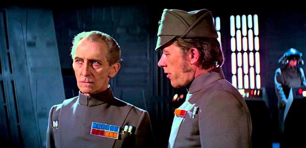 Peter Cushing, pictured above as Grand Moff Tarkin in the original 'Star Wars' makes an appearance in the new movie thanks to some remarkably convincing CGI