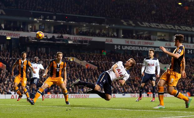 Tottenham Hotspur's Harry Kane heads at goal Picture: PA