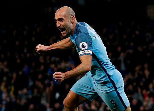 Manchester City's Pablo Zabaleta celebrates scoring their first goal. Photo: Phil Noble/Reuters
