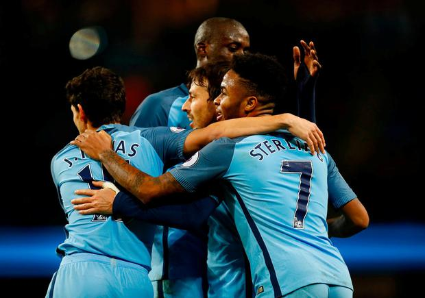 Manchester City's David Silva celebrates scoring their second goal with team mates. Photo: Jason Cairnduff/Action Images via Reuters
