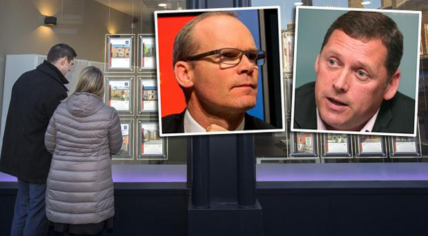 Renters and inset, Simon Coveney (left) and Barry Cowen