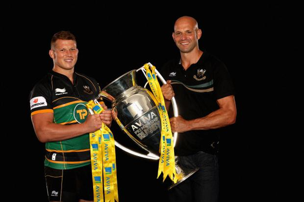 LONDON, ENGLAND - AUGUST 20: Dylan Hartley (L) and Jim Mallinder, Director of Rugby at Northampton Saints pose during the Aviva Premiership Season Launch 2012-2013 at Twickenham Stadium on August 20, 2012 in London, England. (Photo by David Rogers/Getty Images for Aviva)