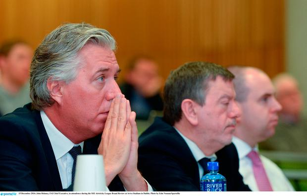 John Delaney, FAI Chief Executive, in attendence during the SSE Airtricity League Brand Review at Aviva Stadium in Dublin. Photo by Eóin Noonan/Sportsfile