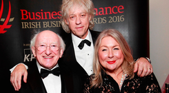 Bob Geldof, President Michael D Higgins and Leicester FC chief executive Susan Whelan were recognised at the 42nd annual Business & Finance Awards last night for their contribution to Irish life. Photo: Conor McCabe
