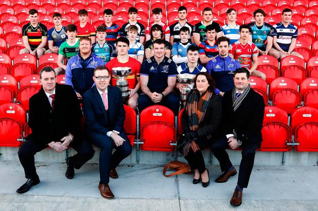 Schools captains with Munster players Stephen Archer, Peter O'Mahony, Darren Sweetnam with Pat Reddan, Ray Kelleher, Noirin O'Callaghan and Conor O'Toole of Clayton Hotels Picture: INPHO