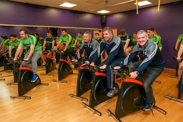 Galway football boss Kevin Walsh with members of his management team and squad in preparation for their 'Tribesmen Go Wild' cycle tomorrow which will raise money for MS Ireland and the Tribesmen Supporters Club, aiding their training fund Picture: Aengus McMahon