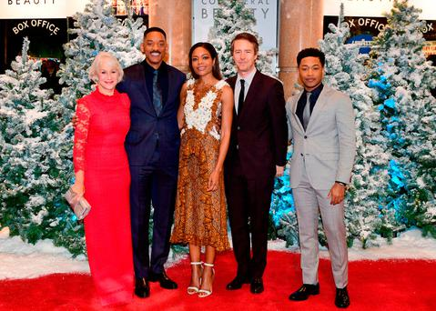(left-right) Dame Helen Mirren, Will Smith, Naomie Harris, Edward Norton and Jacob Latimore attending the European premiere of Collateral Beauty, held at the Vue Leicester Square, London.