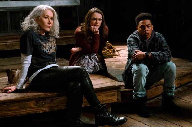 This image released by Warner Bros. Pictures shows Helen Mirren, from left, Keira Knightley and Jacob Latimore in a scene from