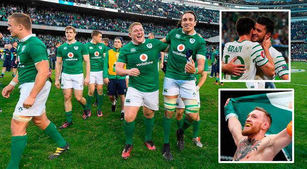 Ireland celebrate in Soldier Field; (inset, top) Conor McGregor and (inset, below) Robbie Brady celebrates goal against Italy