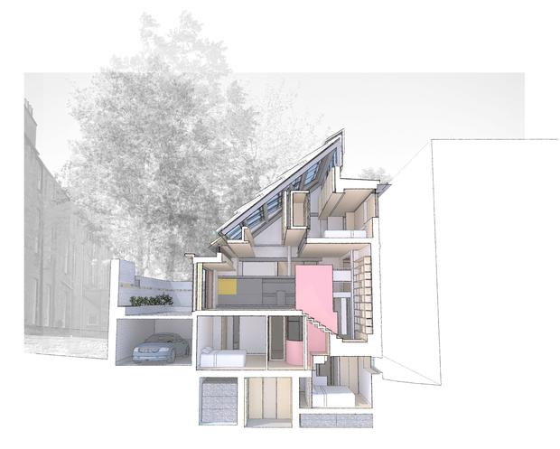 The five-level house has been built on a sandstone terrace on Hart Street in Edinburgh's Unesco-listed New Town. Richard Murphy Architects/RIBA/PA Wire NOTE TO EDITORS: This handout photo may only be used in for editorial reporting purposes for the contemporaneous illustration of events, things or the people in the image or facts mentioned in the caption. Reuse of the picture may require further permission from the copyright holder.