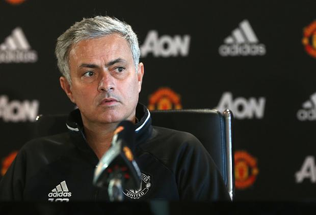 Jose Mourinho of Manchester United speaks during a press conference