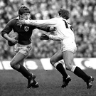 Ireland's Trevor Ringland in action against England during the 1982 Five Nations championship at Twickenham. Picture credit: Ray McManus / SPORTSFILE