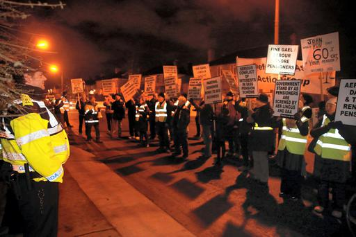 Aer Lingus and DAA workers protest in Dublin about losses to their pensions in 2014. Photo: Arthur Carron.