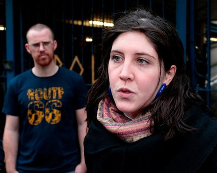 Rosie Leonard talks to media outside Apollo House on Dublin's Poolbeg Street. Photo: Conor Ó Méaráin
