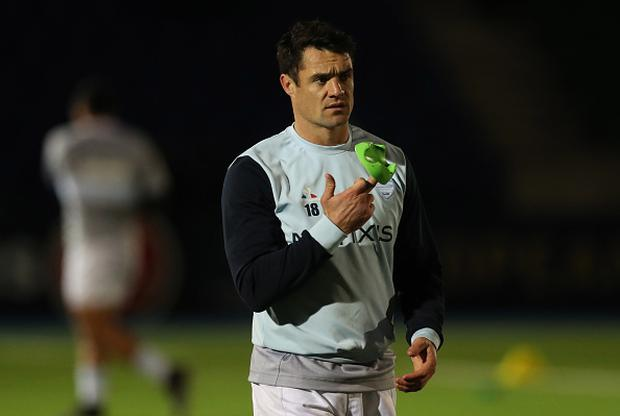 GLASGOW, SCOTLAND - DECEMBER 16: Dan Carter of Racing 92 is seen during the warm prior to the European Rugby Champions Cup match between Glasgow Warriors and Racing 92 at Scotstoun stadium on December 16, 2016 in Glasgow, United Kingdom. (Photo by Ian MacNicol/Getty Images)