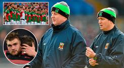 Pat Holmes and Noel Connelly, (inset top) Mayo line up before 2015 semi-final clash with Dublin and (inset below) Aidan O'Shea after defeat to Dublin this year