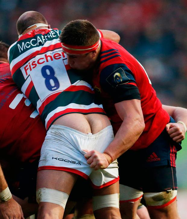 Leicester's Lachlan McCaffrey in action CJ Stander