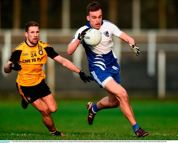 Enda Smith of Connacht in action against Niall Sludden of Ulster
