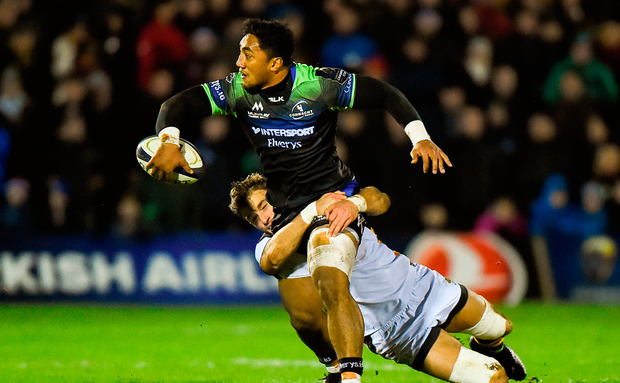 Bundee Aki of Connacht is tackled by Josh Bassett of Wasps