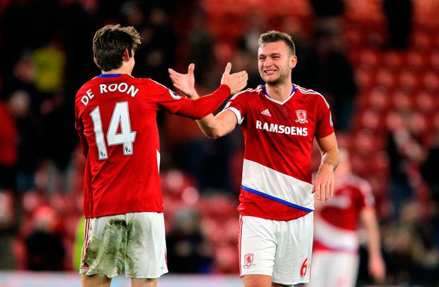 Middlesbrough's Marten de Roon and Ben Gibson celebrate