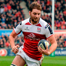 Ulster's Iain Henderson runs in for his side's second try during the Champions Cup match against Clermont Auvergne at the Kingspan Stadium. Photo: Oliver McVeigh/Sportsfile