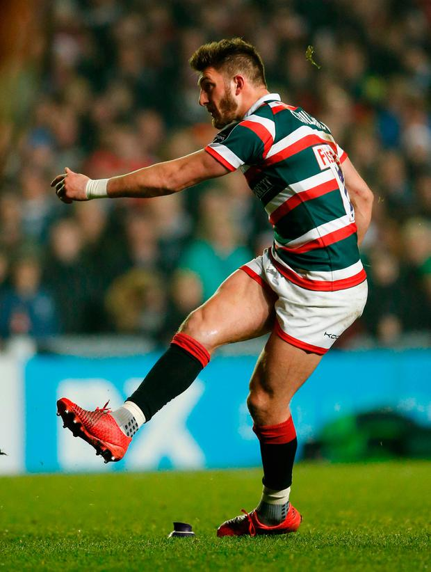 Owen Williams kicks the dramatic late penalty that earned Leicester a Champions Cup victory over Munster at Welford Road