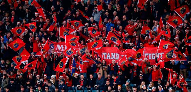 Munster fans make out in force at Welford Road, Leicester. Photo: Andrew Boyers/Reuters