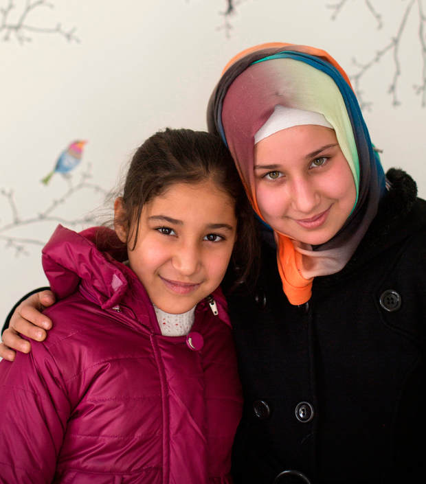 SAFE: Syrian sisters Iman (9) and Emany (11) Mustafa in Gaziantep, Turkey on the Syrian border. Pic:Mark Condren