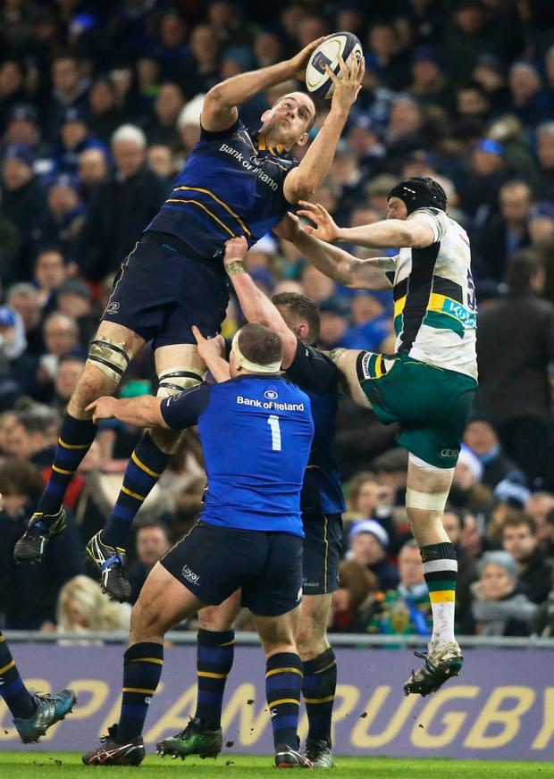 Leinster's Devin Toner catches a high ball. Photo: PA