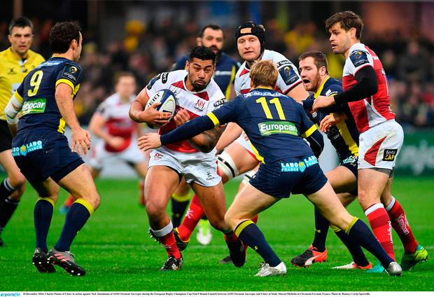 Charles Piutau of Ulster in action against Nick Abendanon of ASM Clermont Auvergne