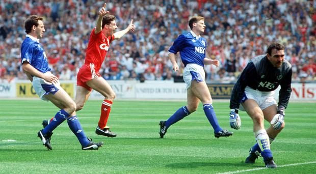 John Aldridge celebrates after scoring for Liverpool against Everton in the 1989 FA Cup final. Photo: Bob Thomas/Getty Images