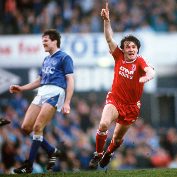 Ray Houghton celebrates after scoring Liverpool's winning goal in the FA Cup 5th Round clash of 1988. Photo: Bob Thomas/Getty Images