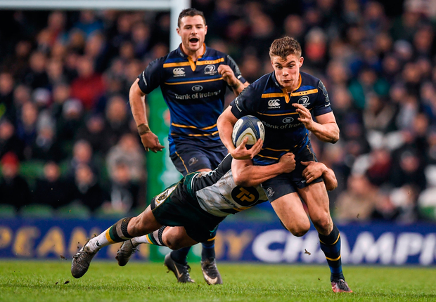 Garry Ringrose of Leinster is tackled by Nic Groom of Northampton Saints. Photo by Brendan Moran/Sportsfile