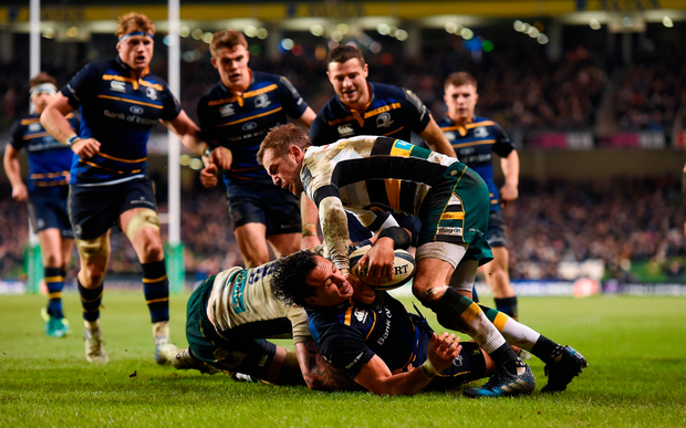 Isa Nacewa of Leinster scores his side's seventh try. Photo by Brendan Moran/Sportsfile