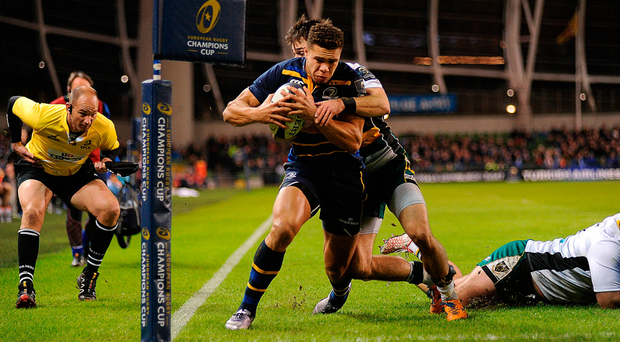 Adam Byrne goes over to score Leinster's first try on Saturday night. Photo by Sam Barnes/Sportsfile