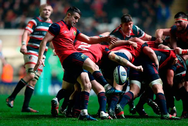 Conor Murray of Munster kicks the ball upfield. Photo by David Rogers/Getty Images