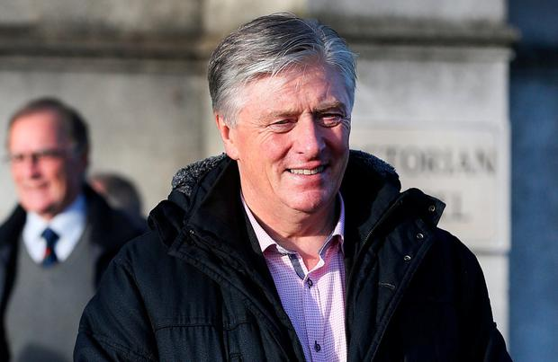 Broadcaster Pat Kenny pictured at the Victorian Chapel in Mount Jerome Crematorium in Harolds Cross for the celebration of Gillian Bowler's life. Photo: Steve Humphreys