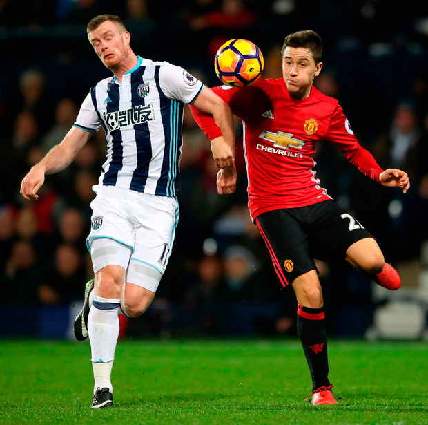 West Bromwich Albion's Chris Brunt (left) and Manchester United's Ander Herrera battle for the ball during the Premier League match at The Hawthorns. Photo: Nick Potts/PA