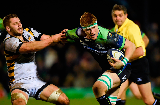 Sean O'Brien of Connacht is tackled by Thomas Young of Wasps. Photo by Matt Browne/Sportsfile