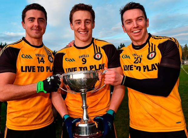 Ulster's Stefan Campbell, Charlie Vernon and Tony Kiernan after their victory over Connacht in Carrick-on-Shannon. Photo by David Maher/Sportsfile