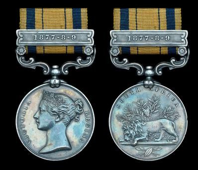 The Zulu War medal, with clasp, awarded to Private Michael Minehan in 1879