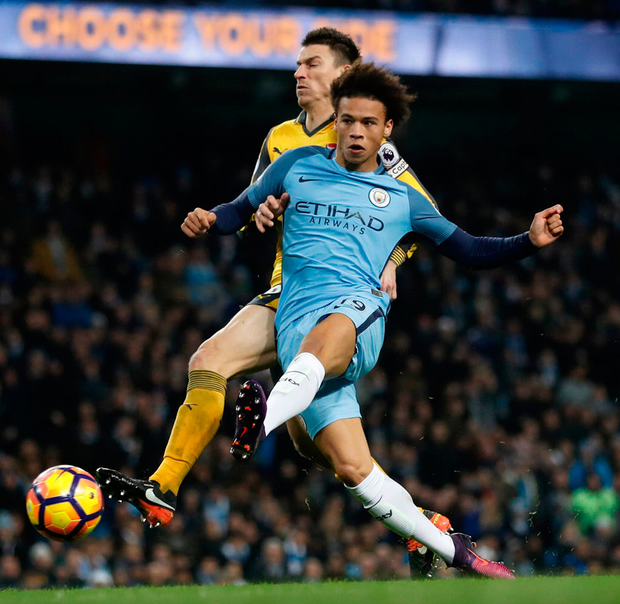 Leroy Sane scores Manchester City's equalising goal during their 2-1 win over Arsenal at the Etihad. Photo: Carl Recine Livepic/Reuters