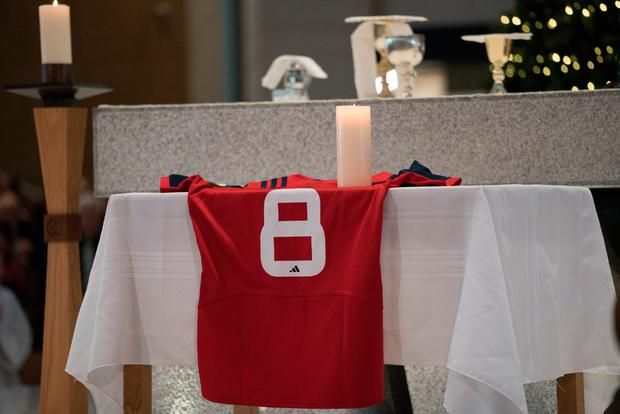 A Munster Rugby Jersey which was presented to Fr. Richard Gibbons