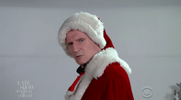 Liam Neeson as Santa Claus. Pic: The Late Show with Stephen Colbert