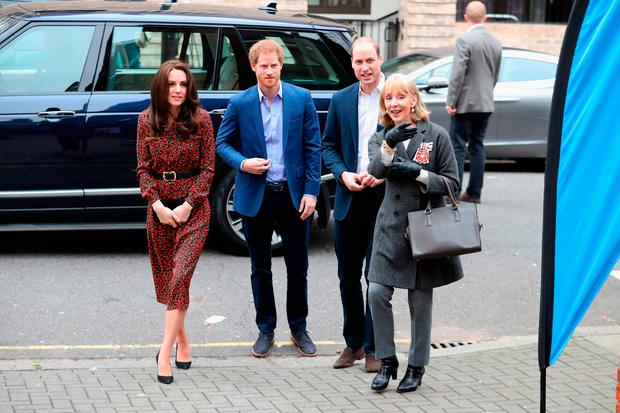 (L-R) Catherine, Duchess of Cambridge, Prince Harry and Prince William, Duke of Cambridge arrive to attend a Christmas party for volunteers at The Mix youth service on December 19, 2016 in London, England. The Mix youth service works with Their Royal Highnesses' Heads Together Campaign. (Photo by Chris Jackson/Getty Images)