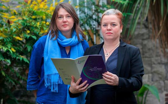 Rape Crisis Network administrator Claire Geldhill and executive director Cliona Saidlear at the launch of group's annual report. Photo: Gareth Chaney/Collins