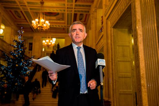 Jonathan Bell addresses the media at Parliament Buildings in Stormont, Belfast. Photo: Liam McBurney/PA Wire