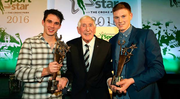 1956 Olympic gold medallist Ronnie Delany with joint winners of the Young Sportstar of the Year Joey Carbery (left) and Austin Gleeson. Photo: Frank McGrath